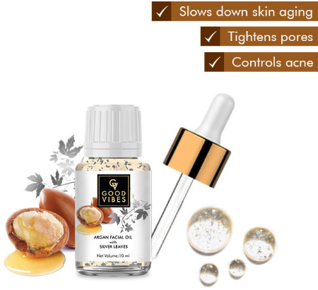 Good Vibes Argan Facial Oil With Silver Leaves Claims