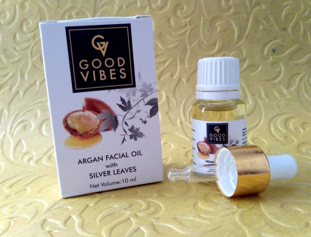 Packaging Of Good Vibes Argan Facial Oil With Silver Leaves