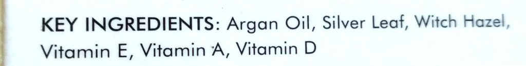 Key Ingredients Of Good Vibes Argan Facial Oil With Silver Leaves