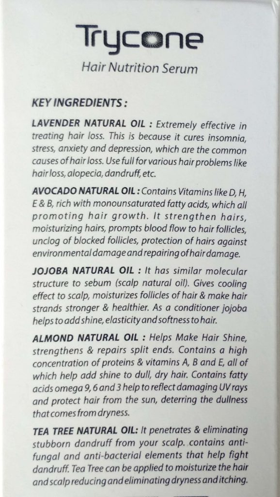 Benefits Of Key Ingredients Of Trycone Hair Nutrition Serum